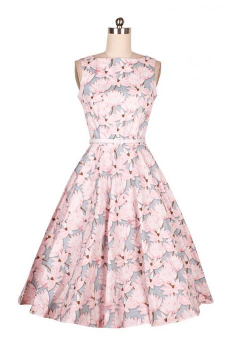 Floral Printed Midi A-Line Dress Showcasing Sleeveless Bodice with Square Neckline