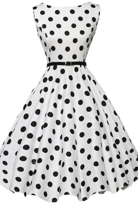 Vintage Vibe Polka Dots Sleeveless Swing Dress Featuring Crew Neck