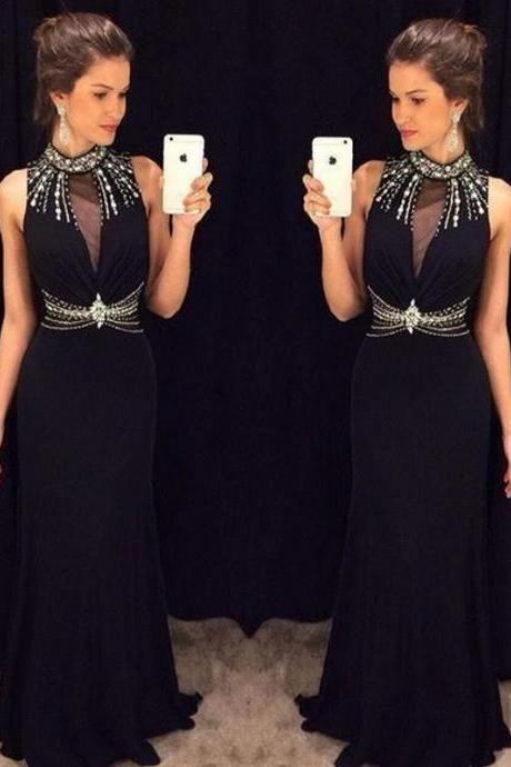 New Arrival Black Mermaid Prom Dresses 2016 High Neck Sleeveless Beading Chiffon Formal Gowns Sexy Party Cocktail Dress Beaded Chiffon Evening Dress