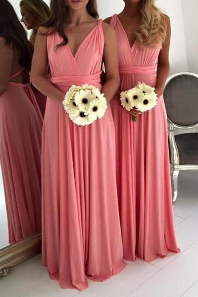 Pink Chiffon Ruched Plunge V Sleeveless Floor Length A-Line Formal Dress, Bridesmaid Dress