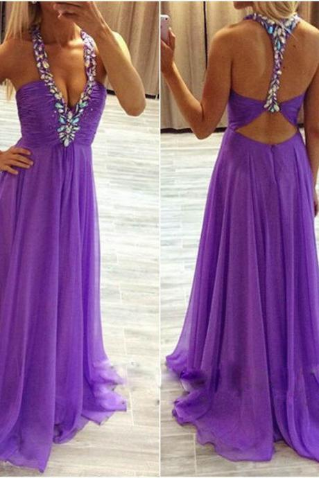 Prom Dress,Prom Dresses,Prom Dresses Crystals,Prom Dresses A-line,Prom Dresses with Crystals,Halter Party Dresses,Purple Chiffon Prom Dresses,Backless Prom Dresses,Sexy Pageant Dresses,Long Evening Dresses,Beaded Party Dresses,Prom Dresses Custom,Prom Dresses Plus Size,Graduation Dress for Girls