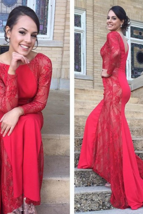 Prom Dress,Prom Dresses,Mermaid Prom Dresses,Red Mermaid Formal Gowns, Prom Dresses Long Sleeves,V Back Prom Dress,Sexy Prom Dresses,Prom Dresses 2016,Long Red Formal Gowns,Prom Dress with Appliques,Prom Dresses Mermaid Style,Sexy Mermaid Party Dresses,Long Mermaid Evening Dresses,Prom Dresses Plus Size