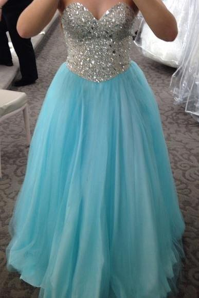 Turquoise Ball Gown Tulle Prom Dresses Sweetheart Puffy Beading Crystals Evening Dress Party Formal Dress Gowns Homecoming Graduation Dresses