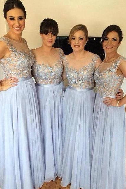 Bridesmaid Dresses,cheap bridesmaid dresses,long Bridesmaids Dresses,Bridesmaids Dresses,Appliques Bridesmaid dresses,Blue Chiffon Bridesmaid Dresses,A Line Long Bridesmaid Dresses,Bridesmaid Dresses Plus Size