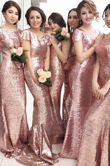 Bridesmaid Dresses,Long Bridesmaid Dresses,Sequin Bridesmaid Dresses,Rose Gold Bridesmaid Dresses,Mermaid Bridesmaid Dresses,Short Sleeves Bridesmaid Dresses,Sexy Wedding Party Gowns,Bridesmaid Dresses Plus Size