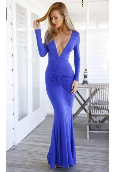 Sexy Long Sleeves Formal Dress Prom Dress Royal Blue V Neck Floor Length Spandex Sheath Column Party Evening Dress
