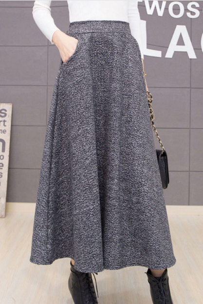 Women's High Waist Wool A-line Pleated Winter and Fall Elastic Band Long Skirts with Pockets
