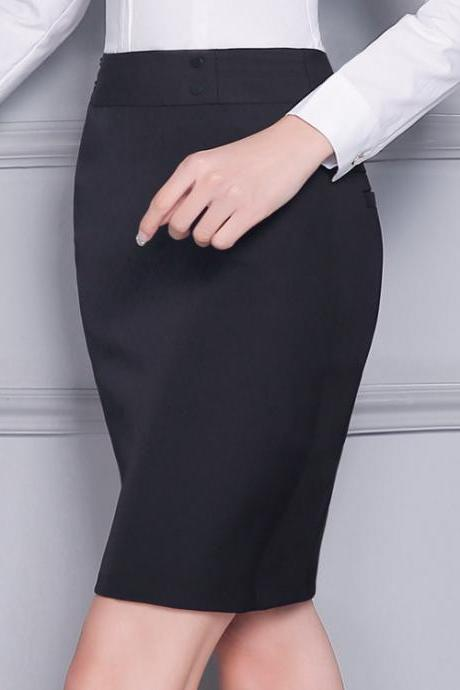 Women's Slim Winter Casual High Waist Knee Length Office Lady Pencil Skirt Black