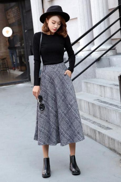 Women's Winter Plaid Pleated Thicken Wool Long A-line Skirts with Pockets