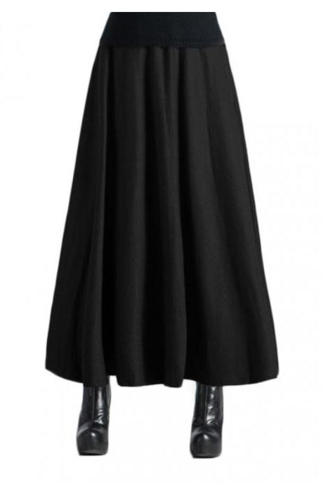 Women's Winter Pleated Thicken High Waist Long A-line Maxi Skirts