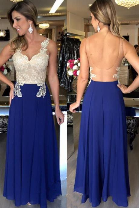Evening Dresses, Prom Dresses,Backless Prom Dresses,Royal Blue Prom Dress,Backless Formal Gown,Open Back Prom Dresses,Open Backs Evening Gowns,Lace Formal Gown For Teens