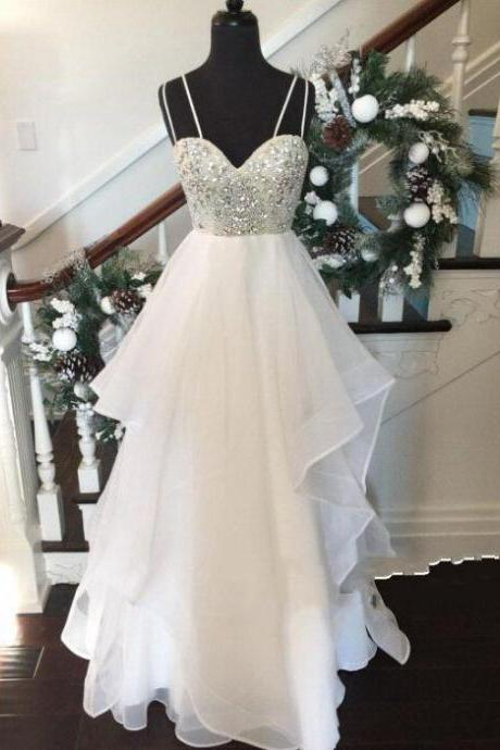 Prom Dress,White Sweetheart Party Gowns,Long Prom Dress,Long Evening Dresses,White Prom Dress,Sexy Formal Dress,Long Party Dress,Spaghetti Straps Prom Dress