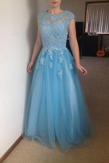Prom Dress,Long Prom Dress,Charming Prom Dress,Tulle Prom Dress,Light Blue Prom Dress,Cap Sleeve Prom Dress,Long Party Dress,Prom Dresses 2017,Cheap Prom Dress,Long Graduation Dress,Appliques Prom Dress