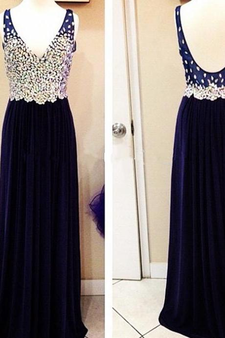 Navy Blue Chiffon Evening Dress,Women Formal Evening Dress,Beaded Prom Dress,V Neck Prom Dresses,Backless Prom Dresses A-line