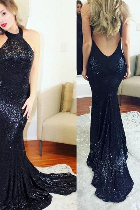 Long Mermaid Prom Dresses Backless,Long Navy Blue Sequin Prom Dresses,Halter Long Party Dresses,Women Formal Gowns Long Sexy