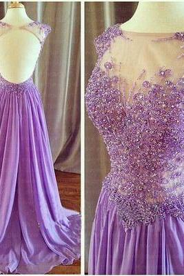 Long Lace Top Prom Dresses,Rhinestone Prom Dresses,Gorgeous Prom Dresses,Open Back Prom Dresses ,Long Chiffon Prom Dresses,Cheap Prom Dresses