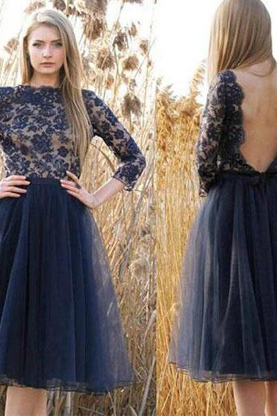 Navy Blue Tulle Homecoming Dresses,Backless Prom Dresses,Long Sleeves Homecoming Dresses,Cheap Prom Dresses Short,Appliques Graduation Dresses Tea Length