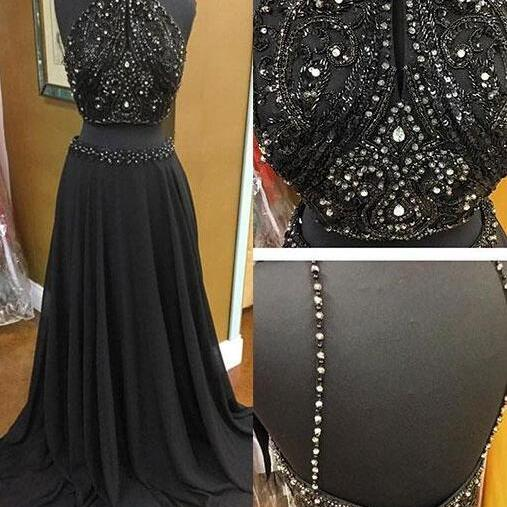 Black Chiffon Two Piece Prom Dresses Long A-line Backless Evening Formal Dress Beaded Crystals Party Graduation Dresses for Teens Girls