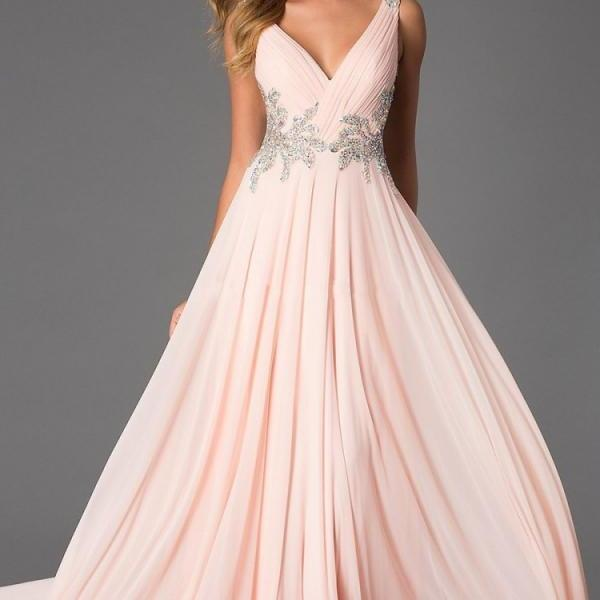 Backless Prom Dresses, Sexy Prom Dress, Backless Prom Dresses, Chiffon Prom Dresses, 2016 Prom Dresses,V- neck Chiffon Homecoming Dresses,Pink Chiffon Formal Gowns