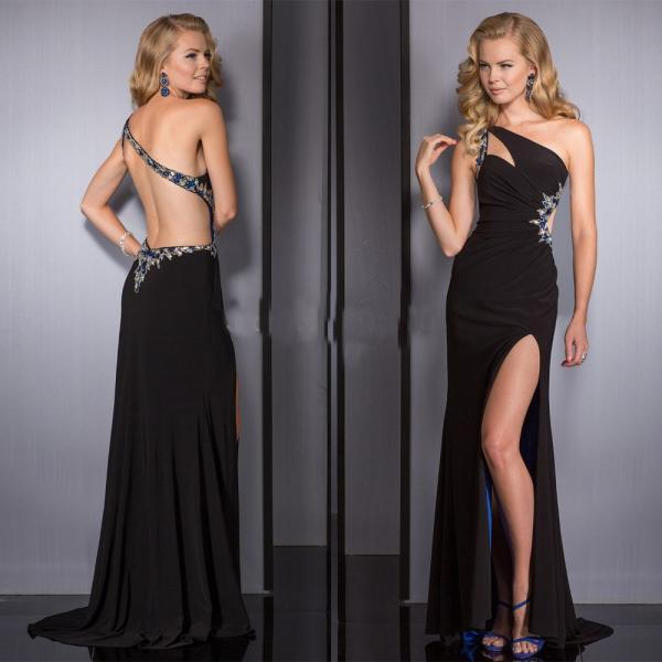 Prom Dress ,Prom Dresses,High Slit Prom Dresses,Sexy Formal Gowns,Beaded Party Dress,Chiffon Prom Dress,Prom Dress Black
