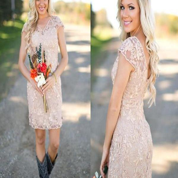 Country Wedding Dresses To Wear With Boots: Short Bridesmaid Dress, Champagne Bridesmaid Dress